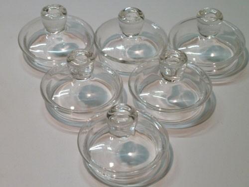 Glasdeckel / Knopfdeckel aus Glas 6 Stück